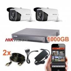 2 lauko/vidaus Hikvision kamerų vaizdo stebėjimo sistema,SIS08-T