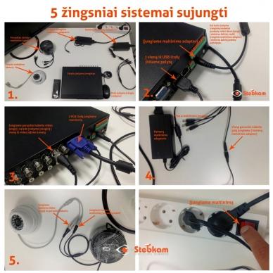 2 slaptų kamerų stebėjimo sistema su laidais, SLAPT1,700TVL 4