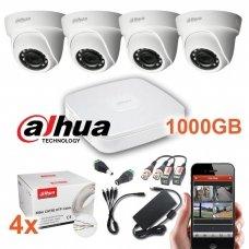 4 HD-CVI 5 Megapikselių raiškos kupolinių lauko/vidaus kamerų komplektas SK-CVI-5MPD