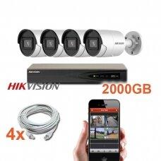 """4 IP lauko/vidaus """"Acusense"""" kamerų stebėjimo sistema 4 Mp, SK-IP40"""