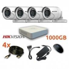 4 lauko/vidaus Hikvision kamerų vaizdo stebėjimo sistema,SIS01-T