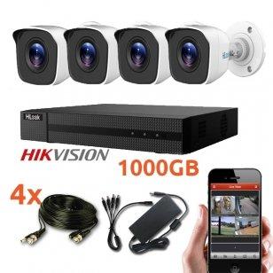 4 lauko/vidaus Hikvision kamerų vaizdo stebėjimo sistema,Hilook
