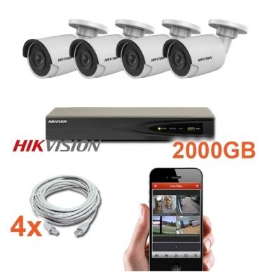 4 IP lauko/vidaus kamerų stebėjimo sistema 4 Mp, SK-IP24