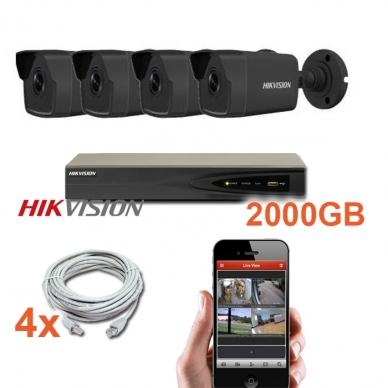 4 juodų IP lauko/vidaus kamerų stebėjimo sistema 4 Mp, SK-IP34_j