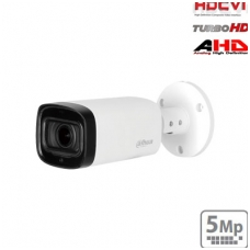 HD-CVI cilindrinė kamera 5MP su LXIR pašvietimu iki 60m., 2.7-12mm 98°~34°, IP67, su mikrofonu