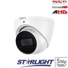 """HD-CVI kupolinė kam. STARLIGHT 5MP, LXIR pašvietimas iki 50m., 1/2.8"""" 2.8mm 98°, IP67, su mikrofonu"""