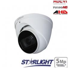 """HD-CVI kupolinė kam. STARLIGHT 5MP, LXIR pašvietimas iki 60m., 1/2.8"""" 2.7-13.5mm, IP67, su mikrofonu"""