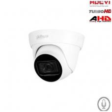 HD-CVI, TVI, AHD kamera kupolinė 2MP su IR iki 30m, 2.8mm, integruotas mikrofonas, IP67, DWDR