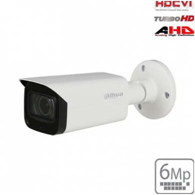 """HD-CVI cilindrinė kam. 6MP, LXIR pašvietimas iki 80m., 1/2.9"""" 2.7-13.5mm, IP67, su mikrofonu"""