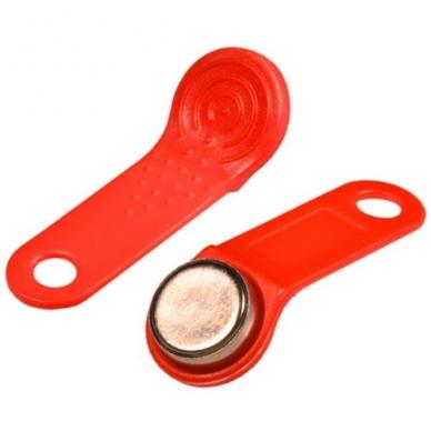 Raudonas dallas raktas iButton DS1990A-F5 su laikikliu